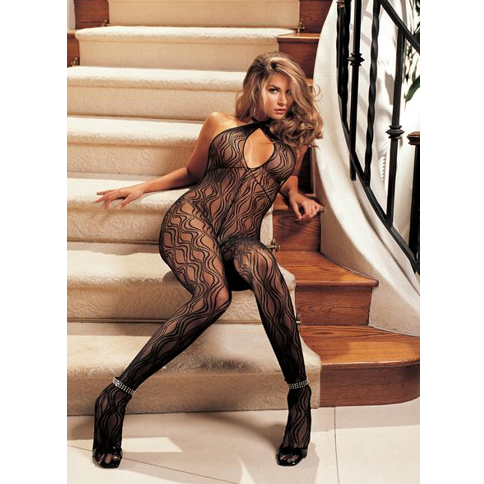 Shirley of Hollywood USA | Swirl Lace Halter Body Stocking With Open Front ONE SIZE FITS MOST (XS/S/M/L/XL) - Sex Toys