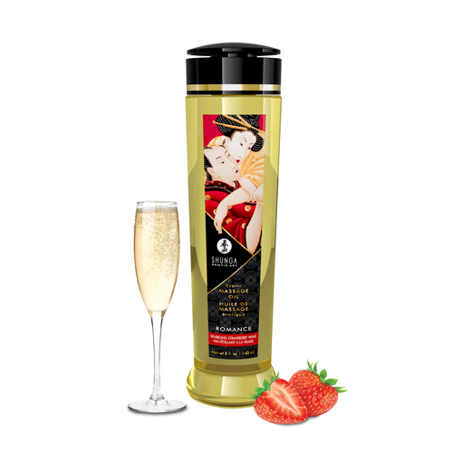 Shunga Massage Oil Romance | Sparkling Strawberry Wine 240ml