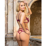 Strappy Red Wine Lace Bra and Panty Set M/L (34/36) - Sex Toys