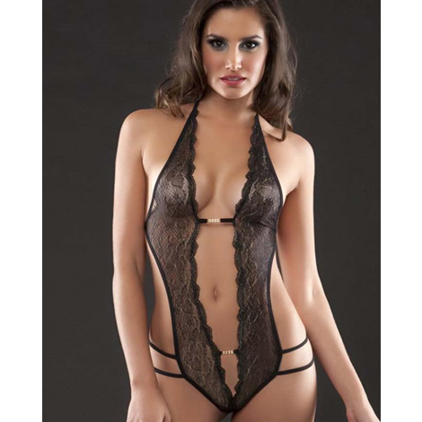 Super Kinky Black Lace Teddy With Diamante Finishes  XS/S/M (28/30/32/34)