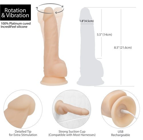 "Swan Naked Addiction 8"" Rechargeable Rotating & Vibrating Dildo - Sex Toys"