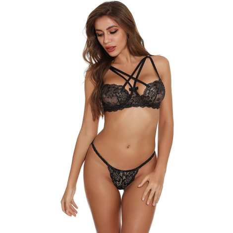 Unique Black Lace With Strappy Detail Bra & Panty Set M/L/XL (34/36/38)