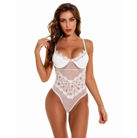 White Lace Flower Eyelash Teddy With Mesh & Lace Adjustable Straps XS/S (28/30/32)