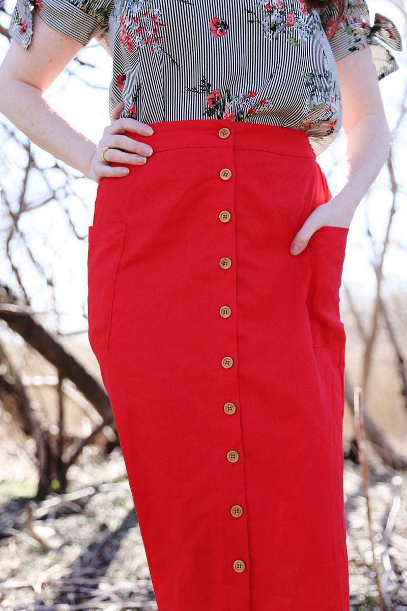 hattie skirt in red