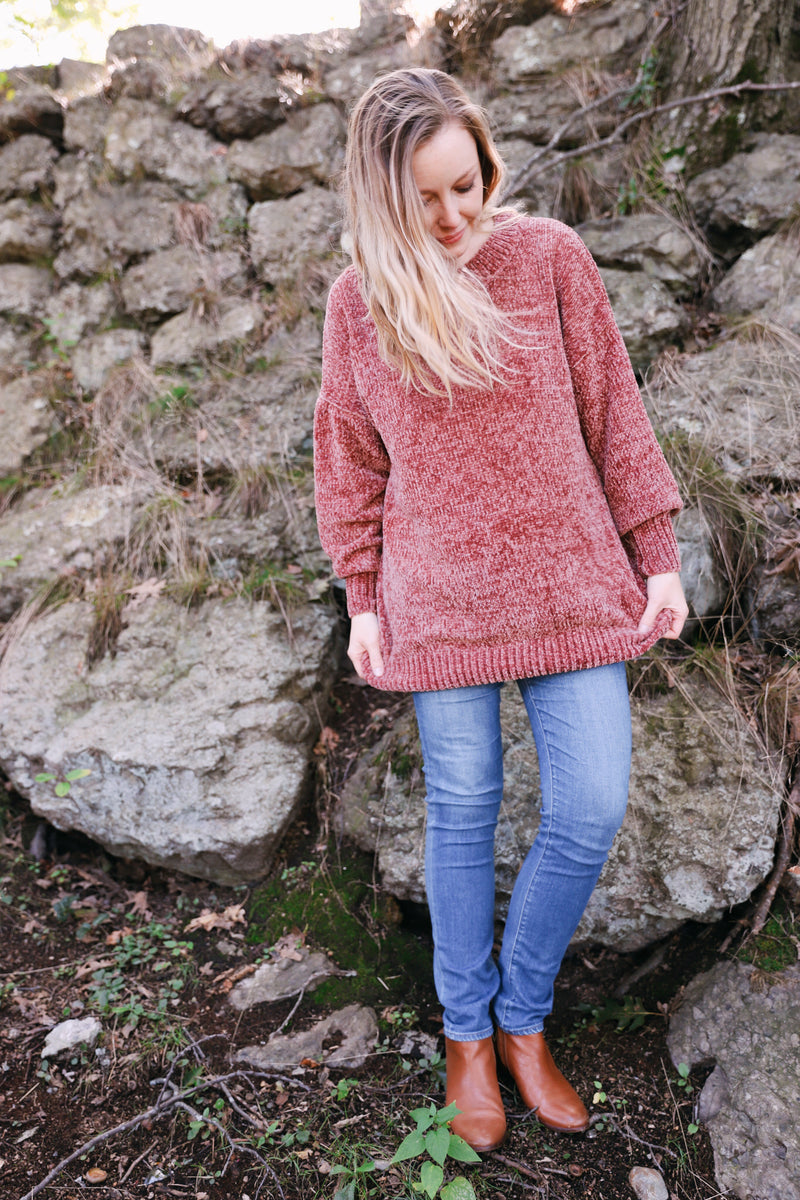 sena sweater in brick