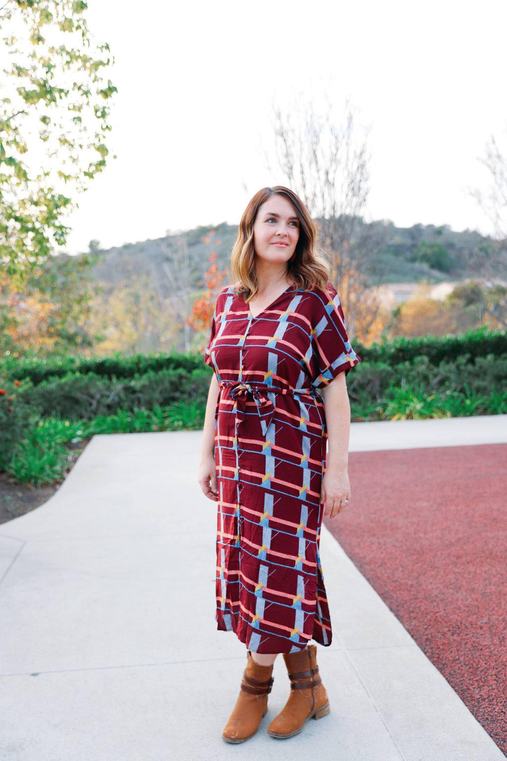 wynn dress in burgundy