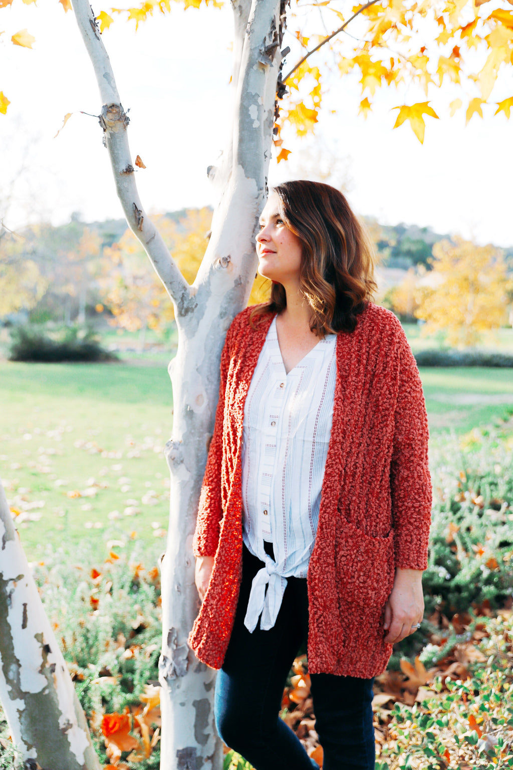 kate cardigan in rust