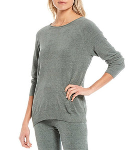 Barefoot Dreams CCUL Rolled Neck Pullover-Agave Green