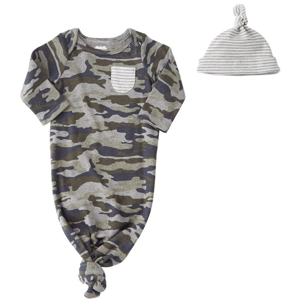 Camo Sleep Gown and Hat Set