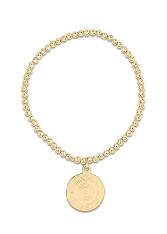 Classic Gold 3mm Bead Bracelet -Athena Small Gold Charm