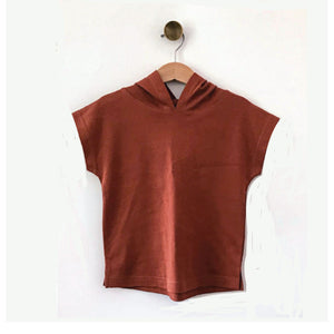 Rust Sleeveless Hooded Tee