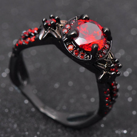 Genuine Red Garnet Crystal Ring