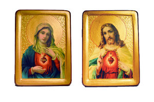 "Wedding Pair Icons "" Sacred Heart of Jesus and Immaculate Heart of Mary"" - Christian Icons"