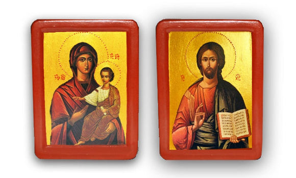 "Wedding Pair Icons Traditional"" Sacred Heart of Jesus and Immaculate Heart of Mary"" - Christian Icons"