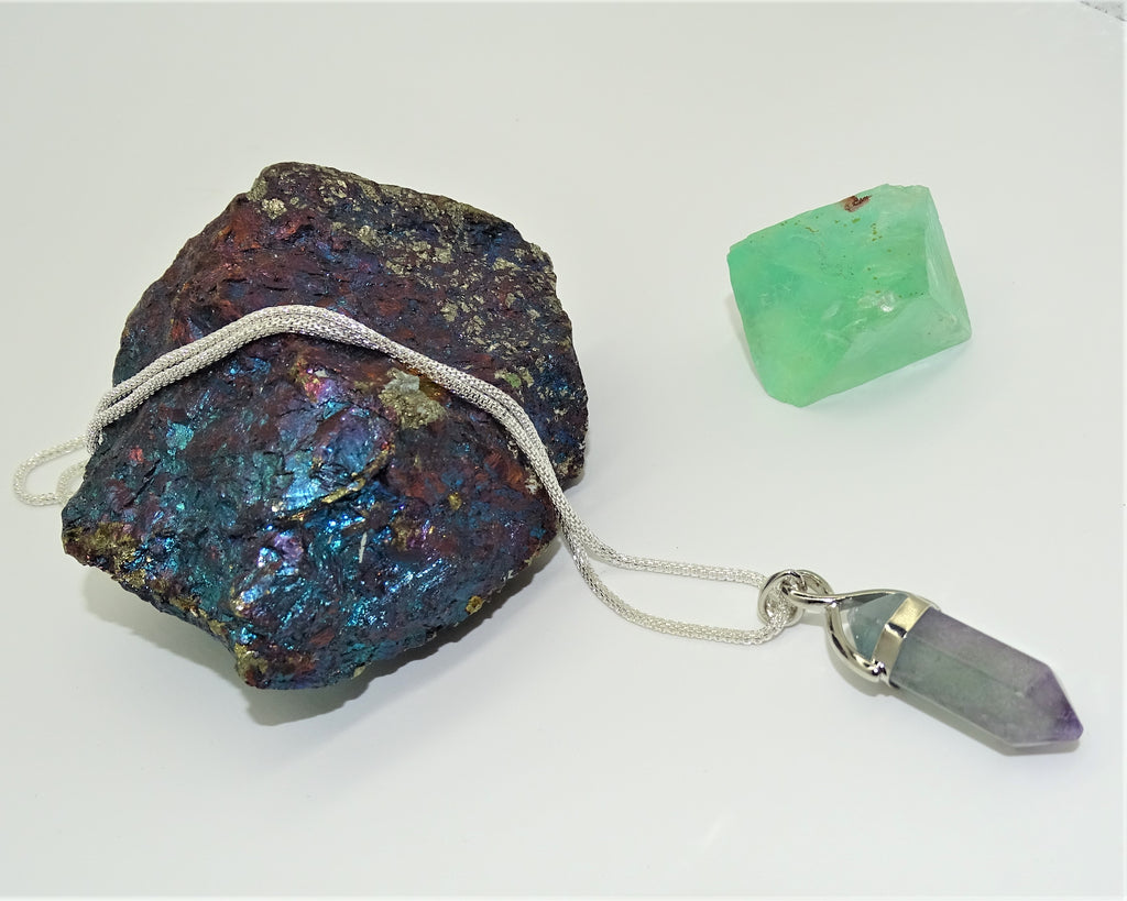 Rainbow Fluorite, Silver plated chain - Focus, Protection and Aura Cleansing
