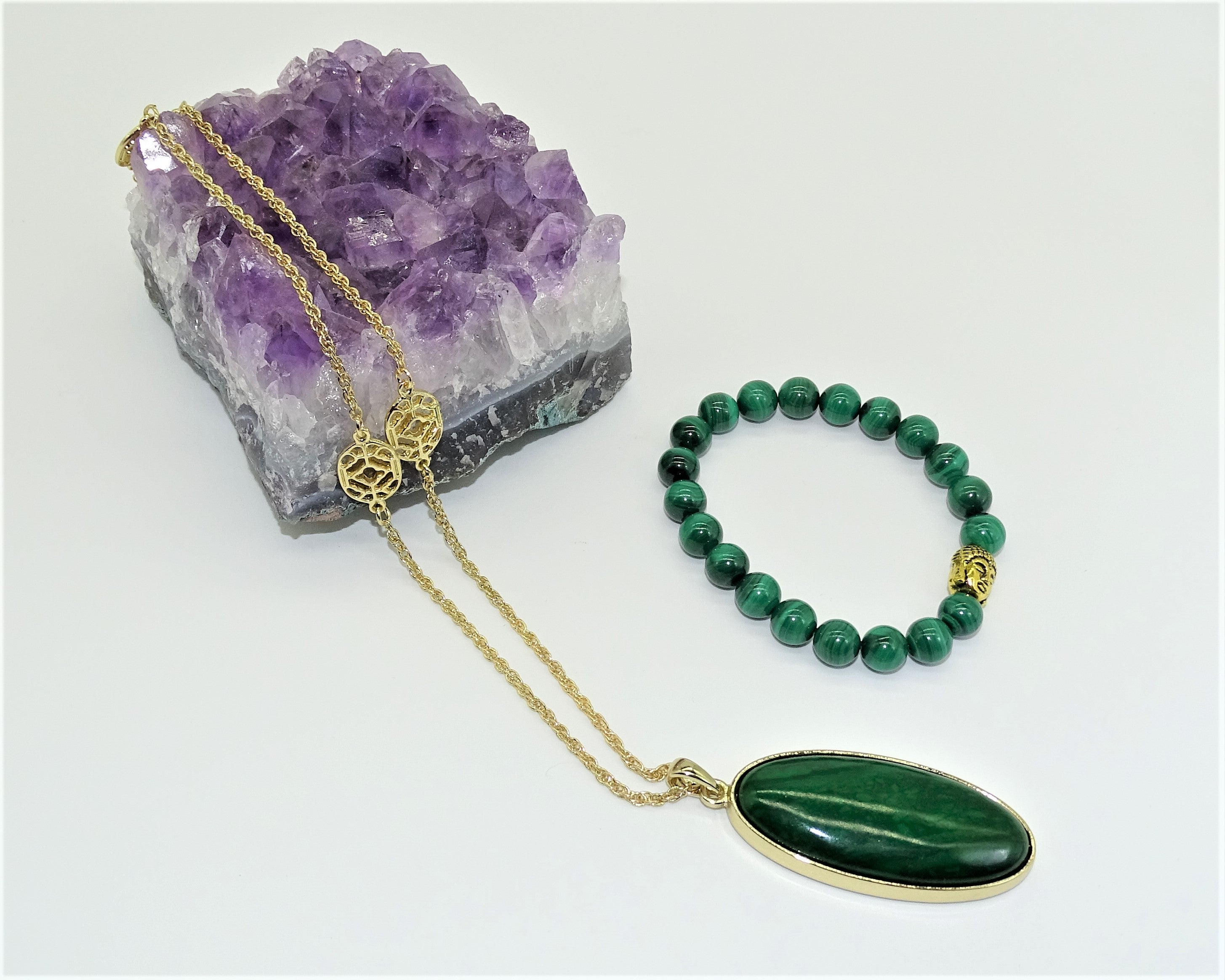 Malachite 14K Gold Plated Chain - Transformation