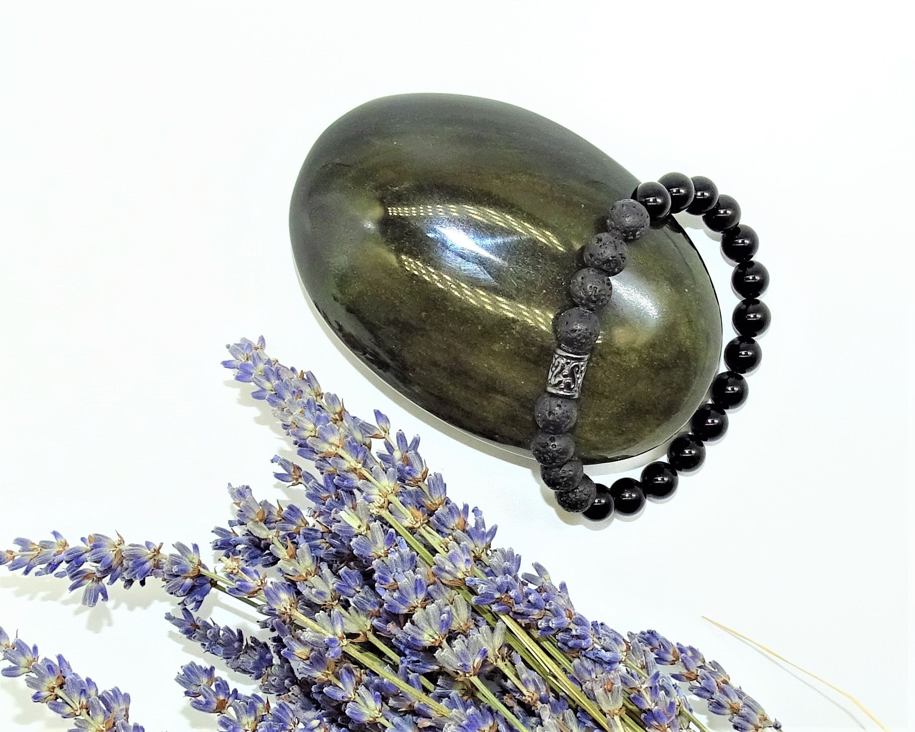 Black Obsidian & Lava Stone - Protection, Courage, Deep Healing & Fresh Start