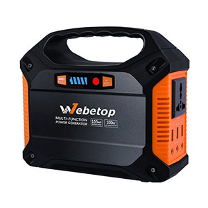 Webetop Portable Generator Power Inverter Battery 100w 42000mah Camping Cpap Emergency Home Use Ups Power Source Charged By Solar Panel Wall Outlet