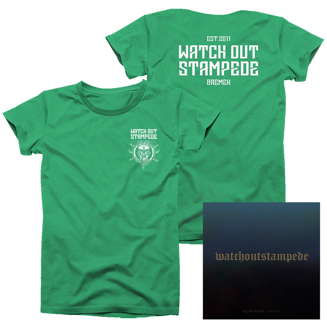 Watch Out Stampede - CD & T-Shirt Green Bundle - mbcBundle - Redfield Records