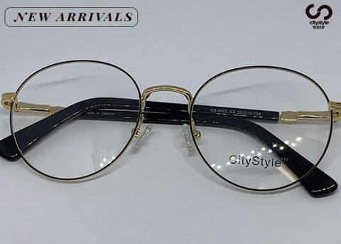 CityStyle Authentic CS 8022 Black & Gold Ovals Clear Eyeglasses