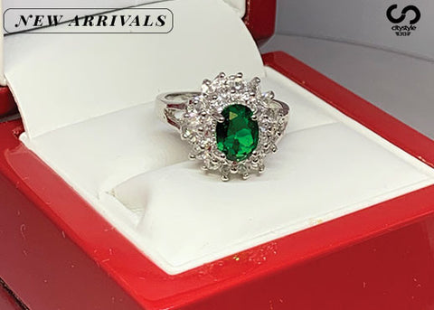 Diamond Ring with Green Ruby