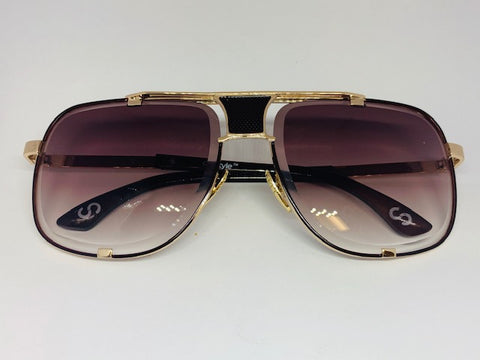 CityStyle Authentic Capital Aviator w/ Grey Cognac Gradient to Clear Diamond Facet Lenses