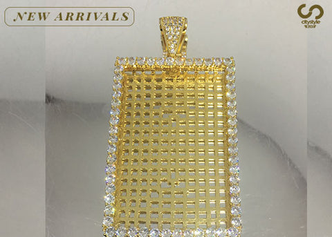 Gold Rectangle Diamond Pendant