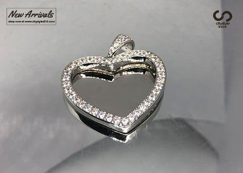 Diamond Silver Heart Pendant
