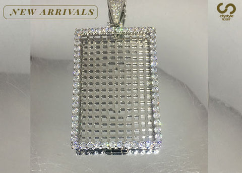 Silver Rectangle Diamond Pendant