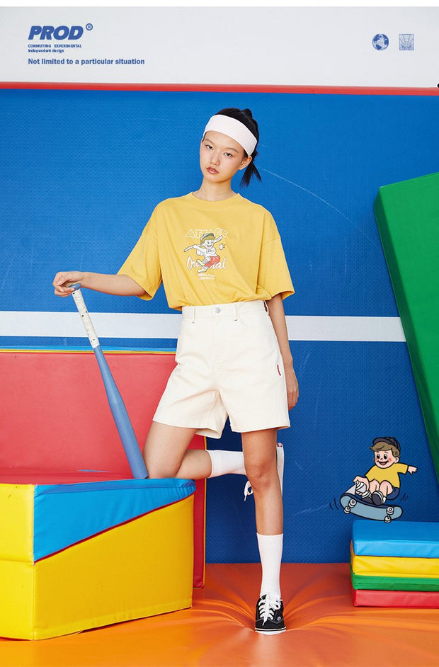 PROD Bldg Boxy T-Shirt S / Yellow Baseball Batter Boxy Short Sleeve T-Shirt