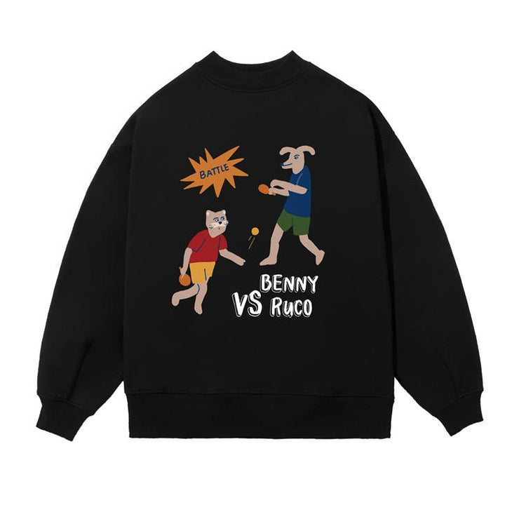 PROD Bldg Crewneck 1 / Black Ping Pong Battle Crewneck Sweatshirt