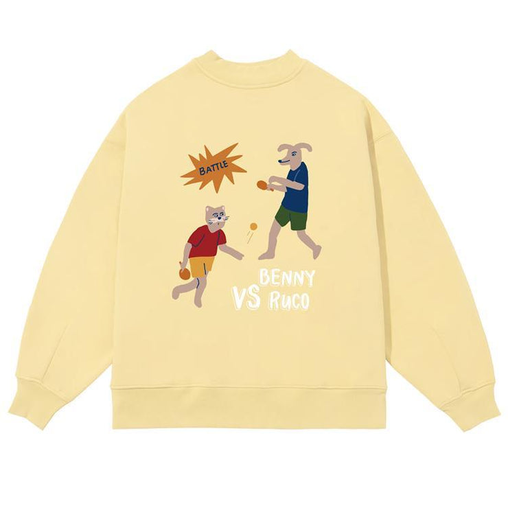 PROD Bldg Crewneck 1 / Butter Yellow Ping Pong Battle Crewneck Sweatshirt