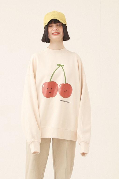 PROD Bldg Crewneck 1 / Cream Smile Around - Cherry Crewneck Sweatshirt