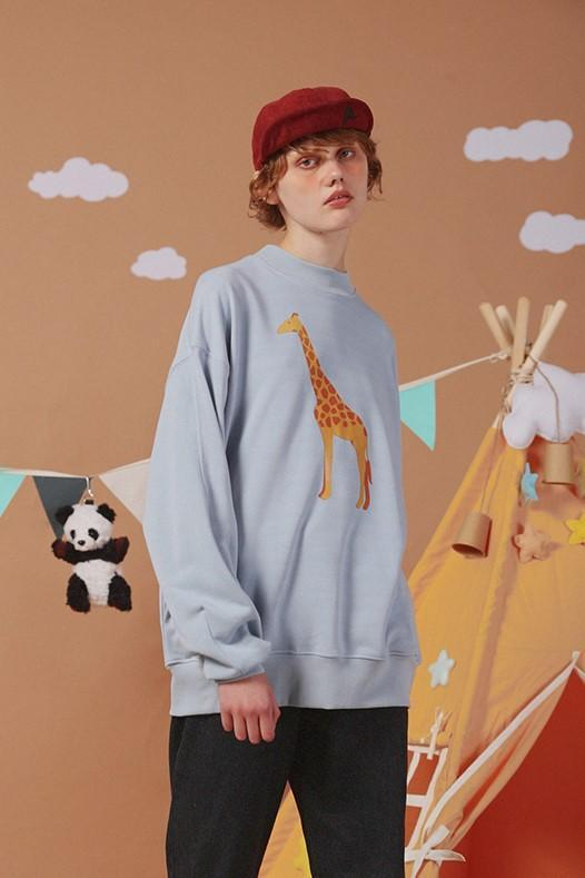 PROD Bldg Crewneck 1 / Light Blue Giraffe Crewneck Sweatshirt