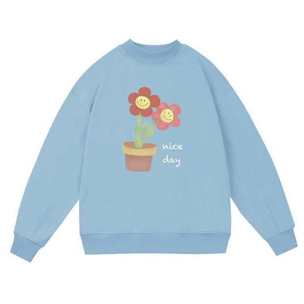 PROD Bldg Crewneck 1 / Light Blue Nice Day - Flower Pot Crewneck Sweatshirt