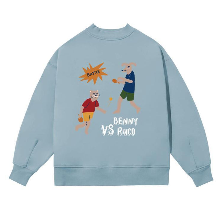 PROD Bldg Crewneck 1 / Light Blue Ping Pong Battle Crewneck Sweatshirt