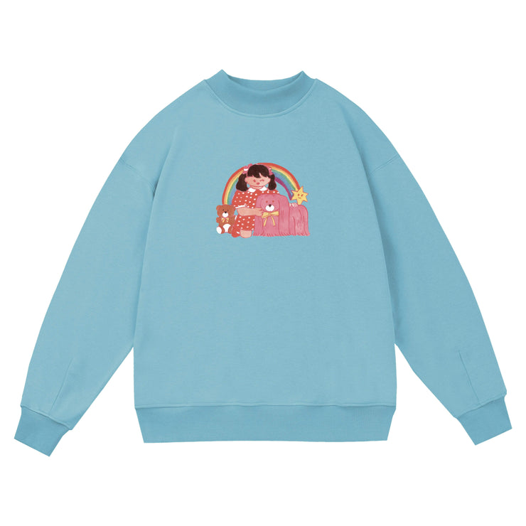 PROD Bldg Crewneck 1 / Light Blue Rainbow Girl Crewneck Sweatshirt