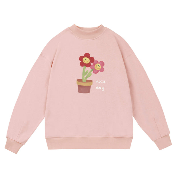 PROD Bldg Crewneck 1 / Pink Nice Day - Flower Pot Crewneck Sweatshirt