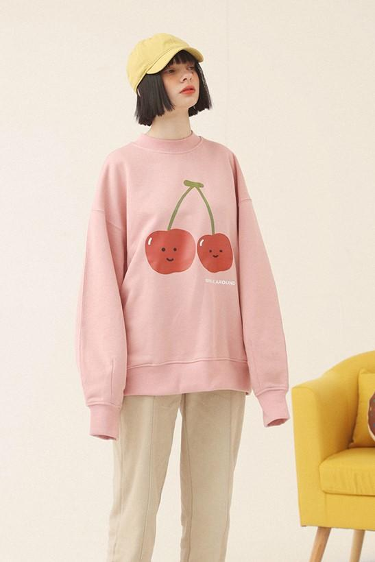 PROD Bldg Crewneck 1 / Pink Smile Around - Cherry Crewneck Sweatshirt