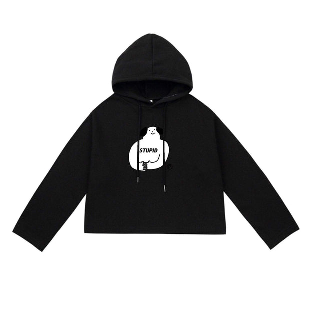 PROD Bldg Crop Top Hoodie 1 / Black Stupid Dog Crop Top Hoodie - Clearance