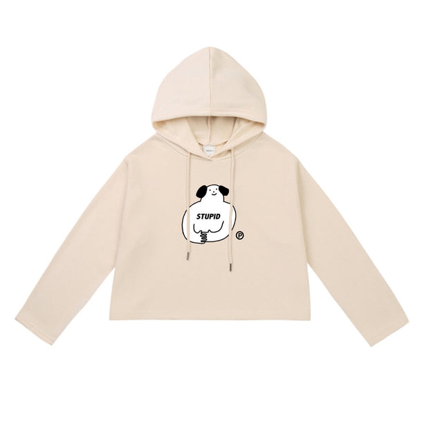 PROD Bldg Crop Top Hoodie 1 / Cream Stupid Dog Crop Top Hoodie - Clearance