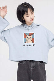 PROD Bldg Crop Top Hoodie 1 / Light Blue Say Cheese Crop Top Hoodie - Clearance