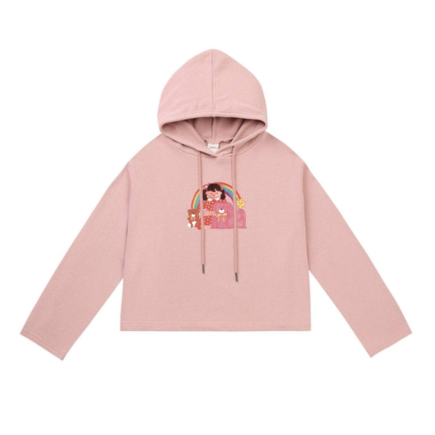 PROD Bldg Crop Top Hoodie 1 / Pink Rainbow Girl Crop Top Hoodie - Clearance