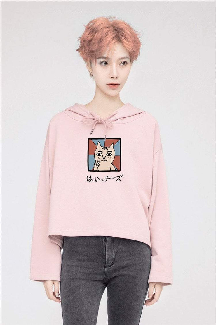 PROD Bldg Crop Top Hoodie 1 / Pink Say Cheese Crop Top Hoodie - Clearance
