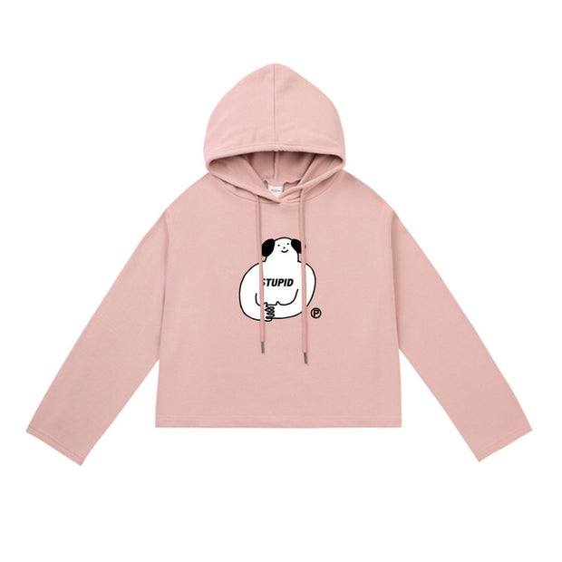 PROD Bldg Crop Top Hoodie 1 / Pink Stupid Dog Crop Top Hoodie - Clearance
