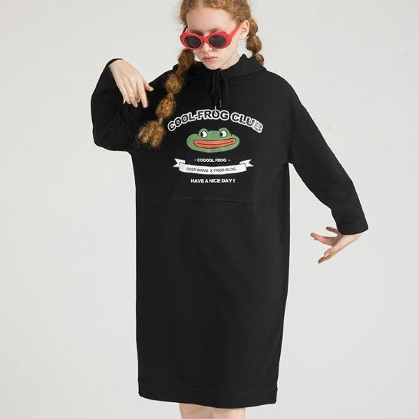 PROD Bldg Hooded Dress One Size / Black Cool Frog Club