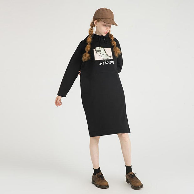 PROD Bldg Hooded Dress One Size / Black Rawr (Dinosaur)