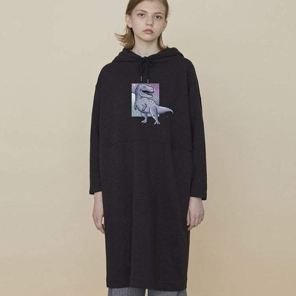 PROD Bldg Hooded Dress One Size / Black T-Rex