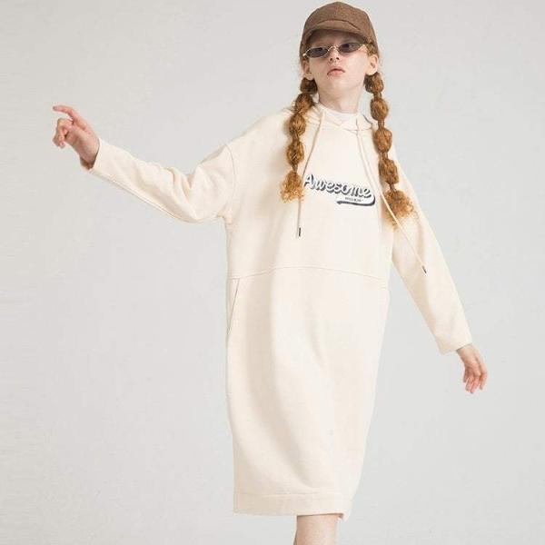 PROD Bldg Hooded Dress One Size / Cream Awesome Varsity
