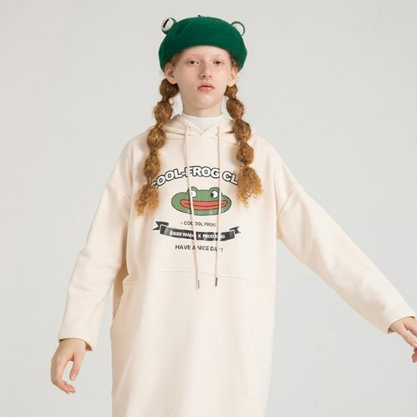 PROD Bldg Hooded Dress One Size / Cream Cool Frog Club